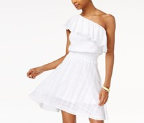 The Edit Women's Embroidered One-Shoulder Ruffle Dress, White