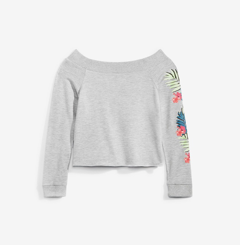 Big Girls Graphic Print Sweatshirt, Gray