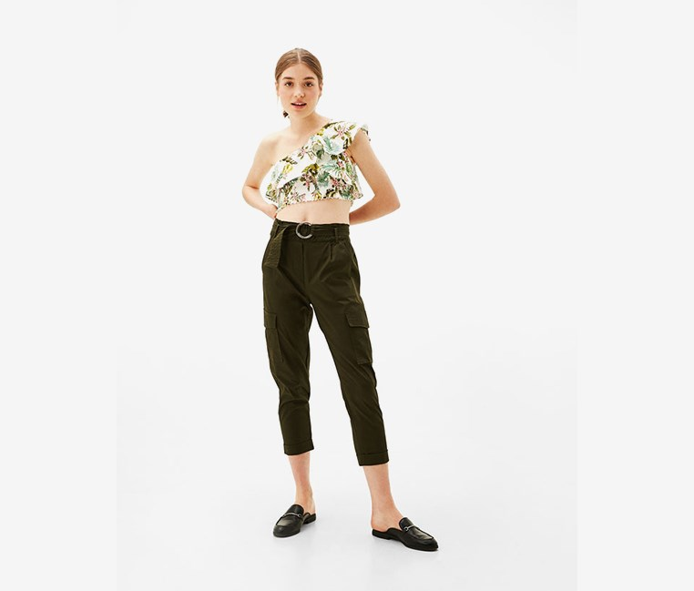 Women's One Shoulder Cropped Top, White/Olive Green