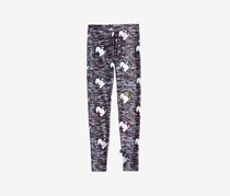 Terez Girls' Heathered-Print Heart Leggings, Gray Combo