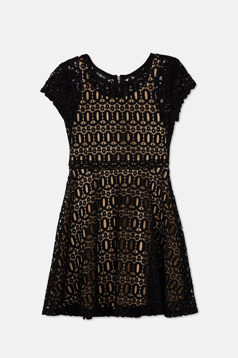 Girl's Short Sleeve Crochet Lace Skater Dress, Black