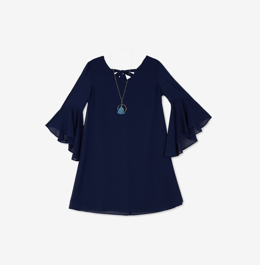 Big Girls 2-Pc. Ruffle Sleeve A-line Dress & Necklace Set, Navy