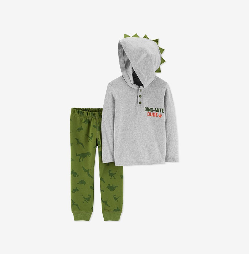 Toddlers Boy's 2pc, Hooded Long Sleeve Top & Pants, Olive/Gray