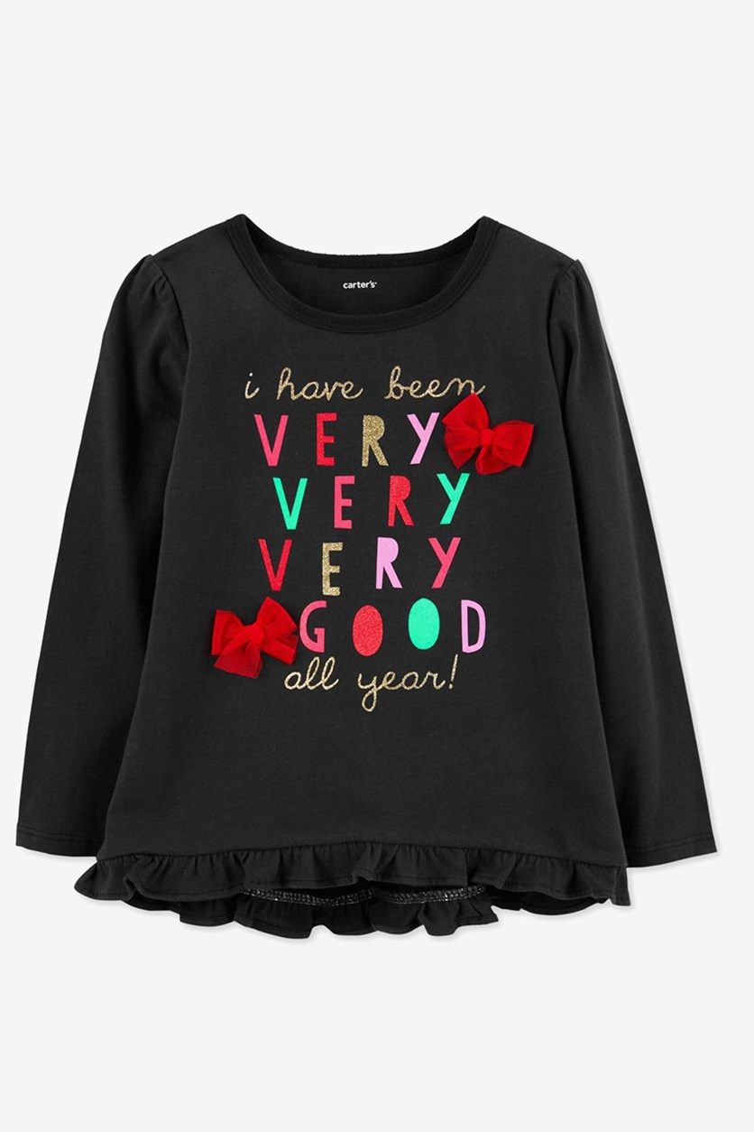 Carter's Baby Girls Very Good Graphic Cotton T-Shirt, Black