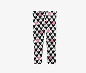 Baby Girls Heart-Print Leggings, Black/Pink/White