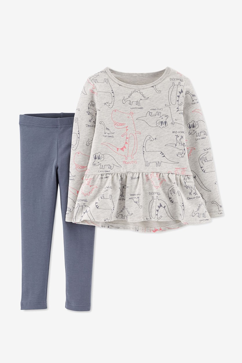 Baby Girls 2-Pc. Dinosaur-Print Peplum Top & Leggings Set, Grey/Cream Combo
