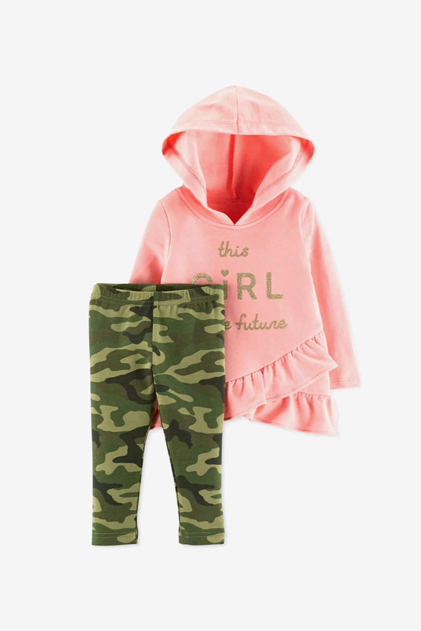 Toddlers Baby Girl's Hooded Top Leggings Set, Pink/Olive