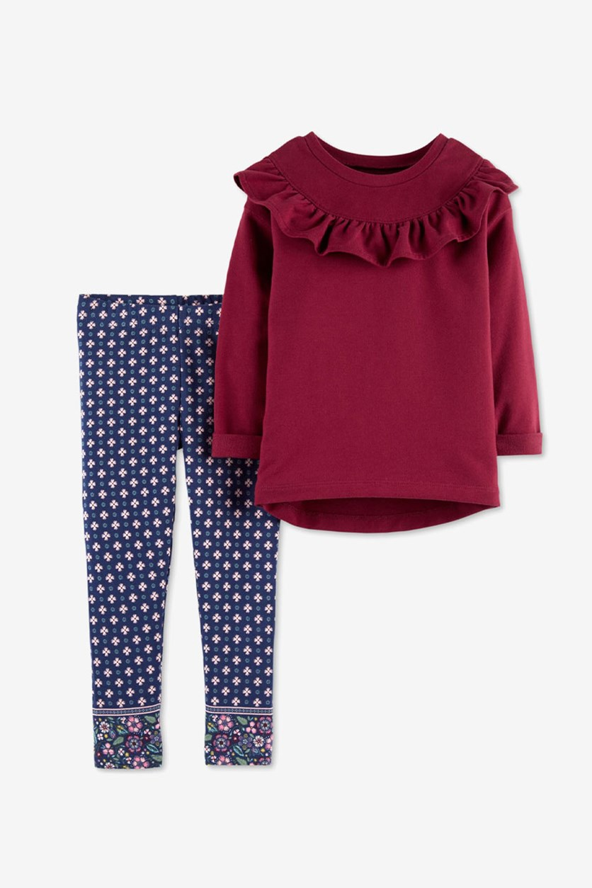 Baby Girls 2-Pcs. Ruffled Top & Printed Leggings Set, Burgundy/Navy Combo