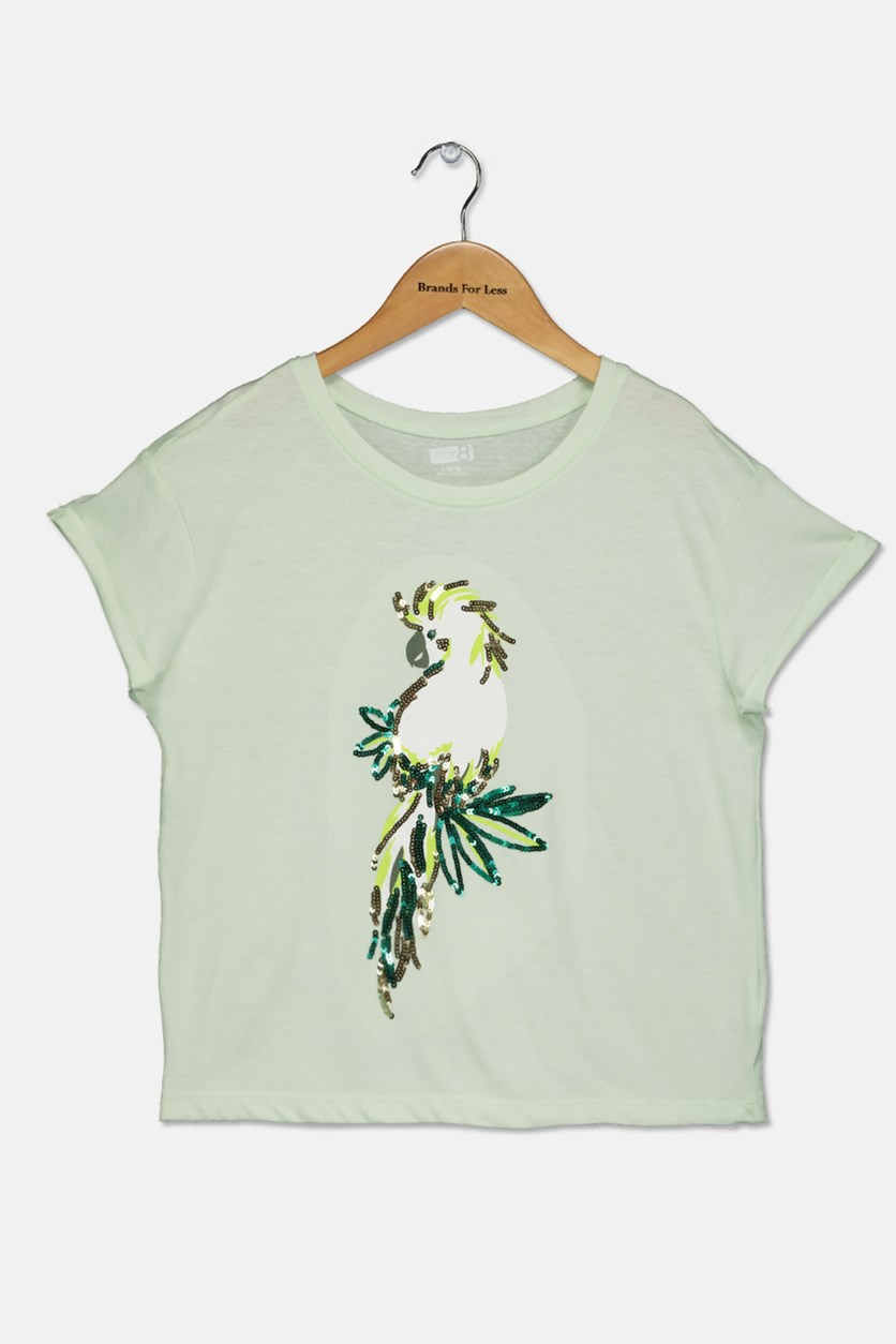 Girls Graphic Sequins Tee, Summer Green