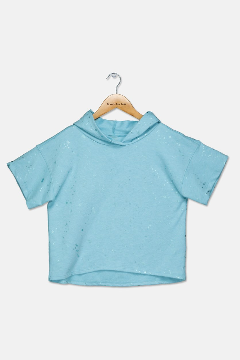 Kids Girls Textured Pattern Tops, Light Blue
