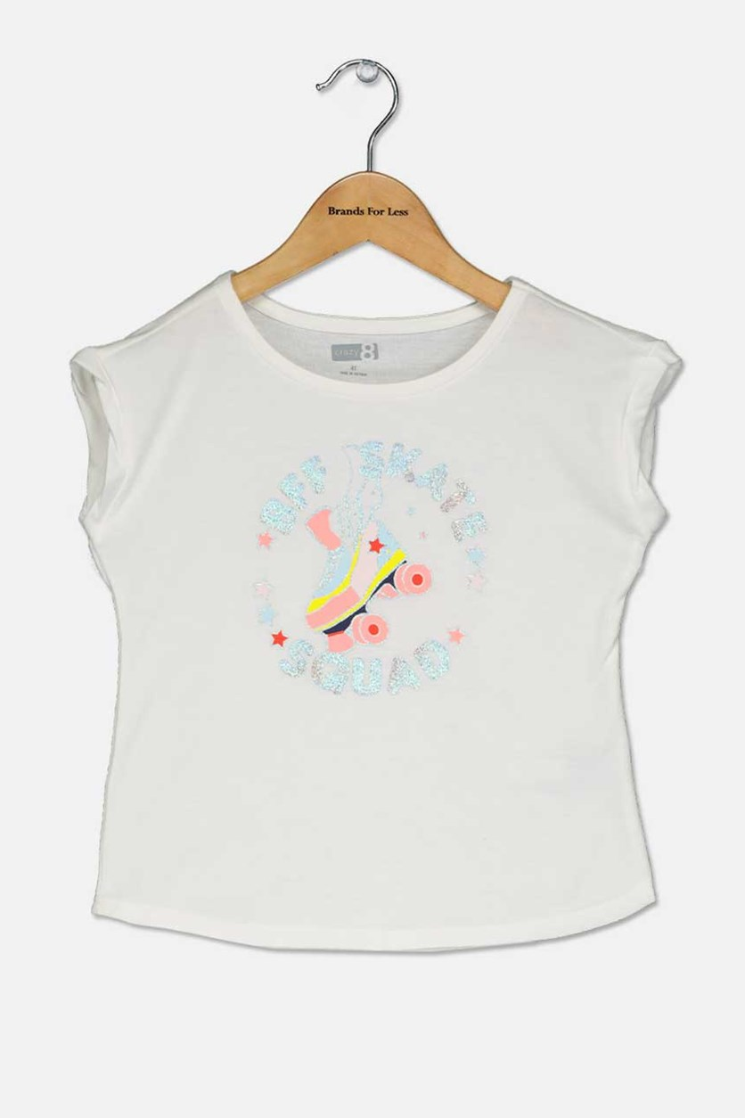 Toddlers Girl Graphic Tops, White