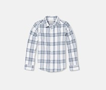 The Children's Place Boy's Plaid Casual Shir, Fin Gray