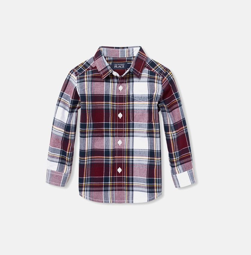Toddler Checkered Casual Shirt, Red Wood