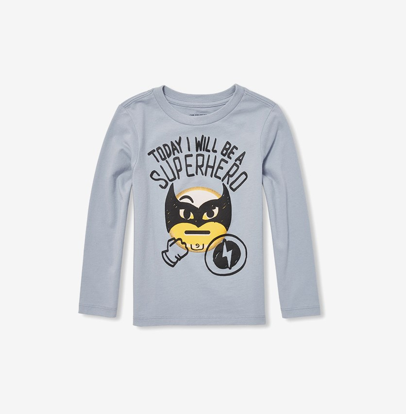 Baby Boy's Long Sleeve Graphic Print Tee, Cinder