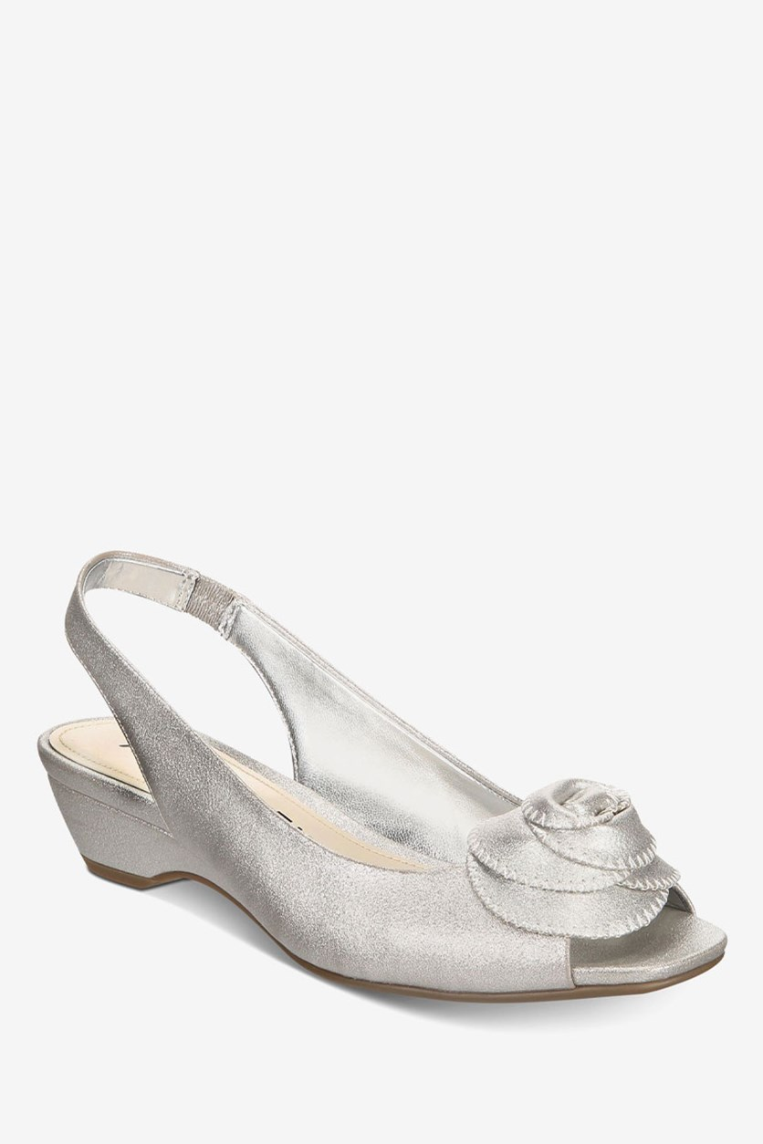 Women's Harietta Slingback Wedge Sandals, Silver