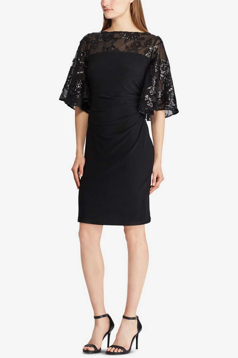 Petites Embellished Jersey Dress, Black