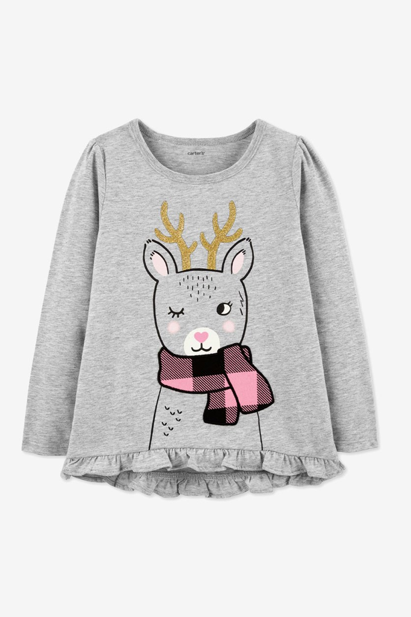 Carter's Toddler Girls Reindeer-Print Cotton T-Shirt, Grey