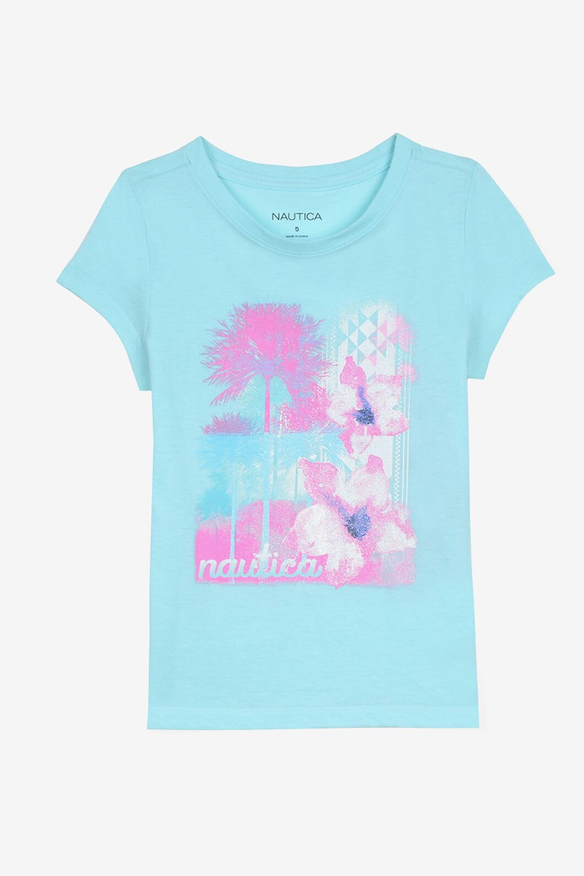 Toddler Girls' Floral & Palm Graphic Tee, Turquiose