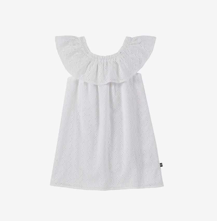 Kids Girls' Eyelet Smocked Off-Shoulder Dress, White