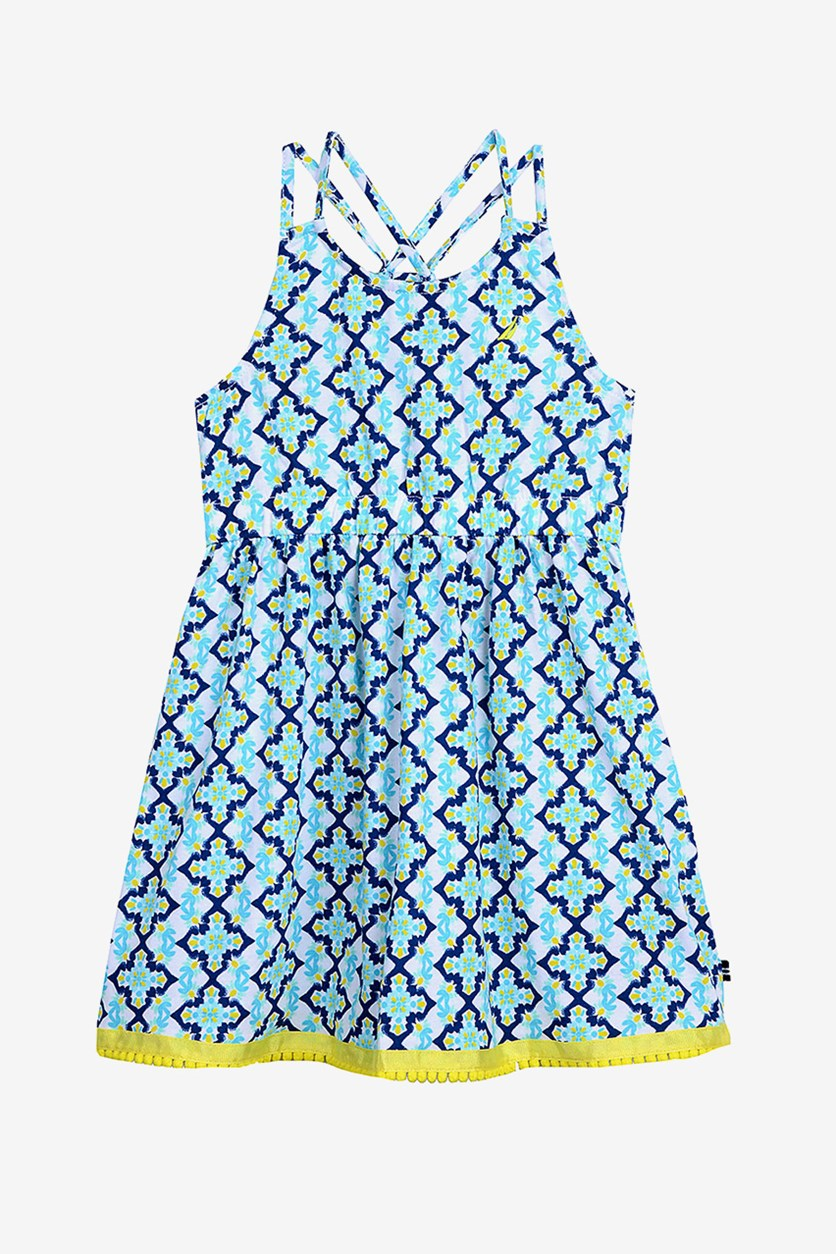 Big Girl's Tile Print a-Line Dress, Turquiose