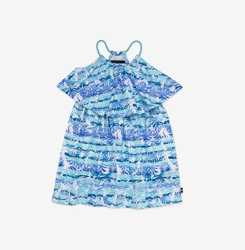 Girls' Printed Jersey Dress, Light Blue