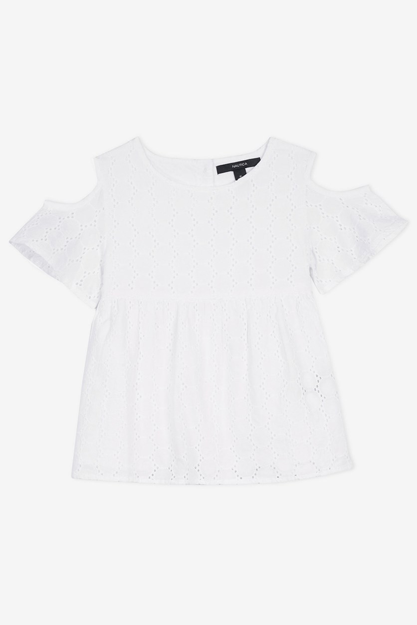 Kids Girls' Eyelet Cold-Shoulder Swing Top, White