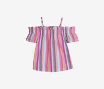 Nautica Big Girls' Stripe Cold-Shoulder Top, Pink
