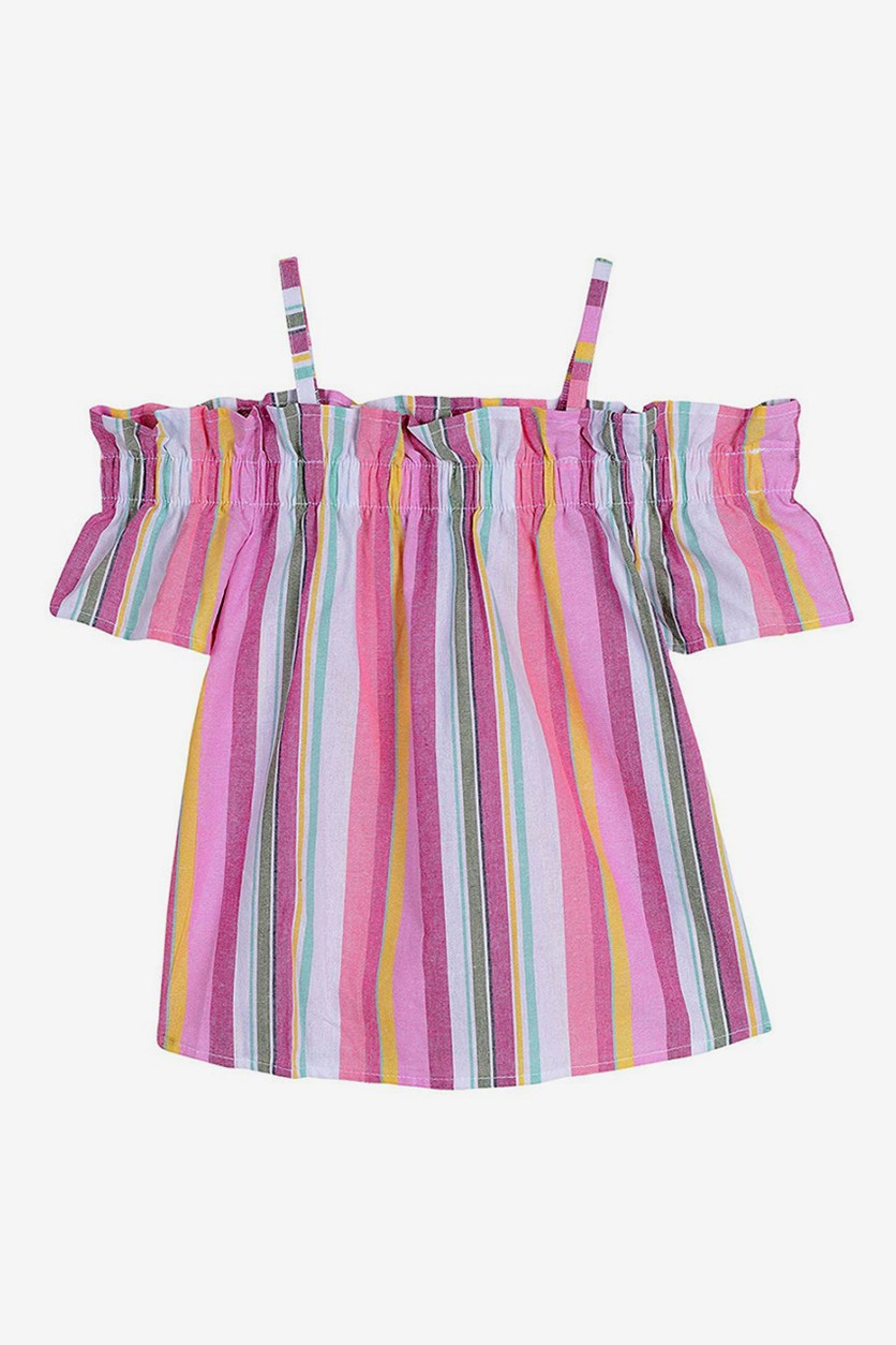 Big Girls' Stripe Cold-Shoulder Top, Pink