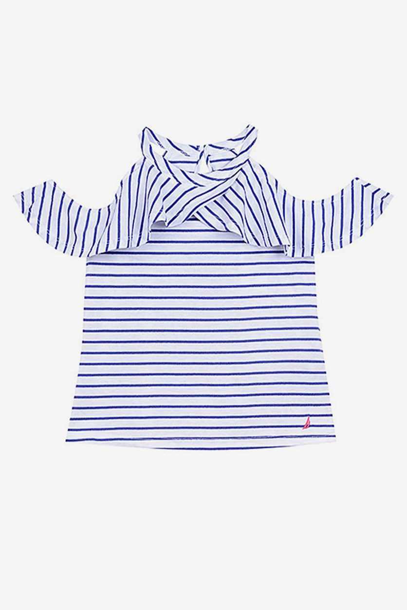 Kids Girls' Stripe Cold-Shoulder Top, Royal Blue