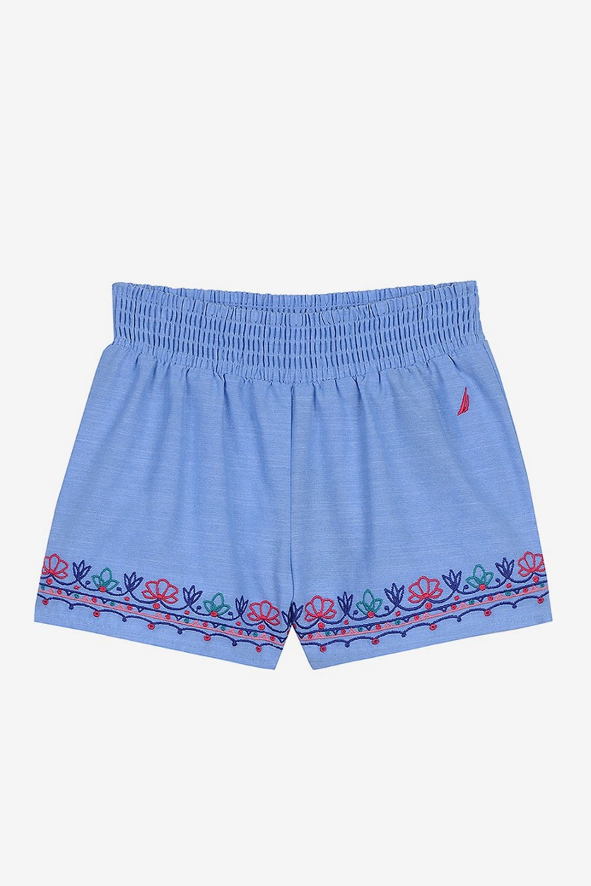 Toddler Girls' Embroidered Floral Shorts, Light Chambray
