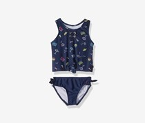 Girls' Beachy Tankini & Bikini Bottoms Set, Navy