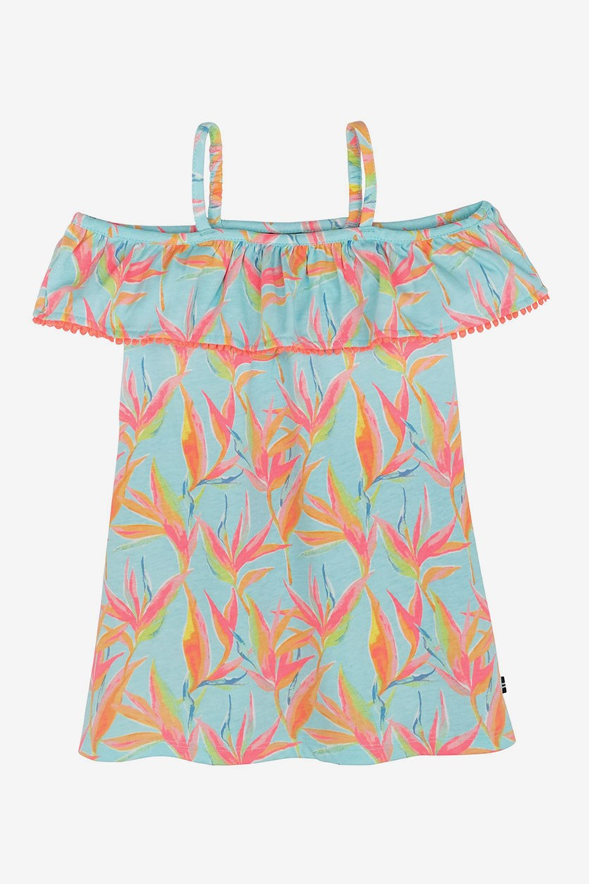 Big Girl's Printed Cold-Shoulder Dress, Light Blue