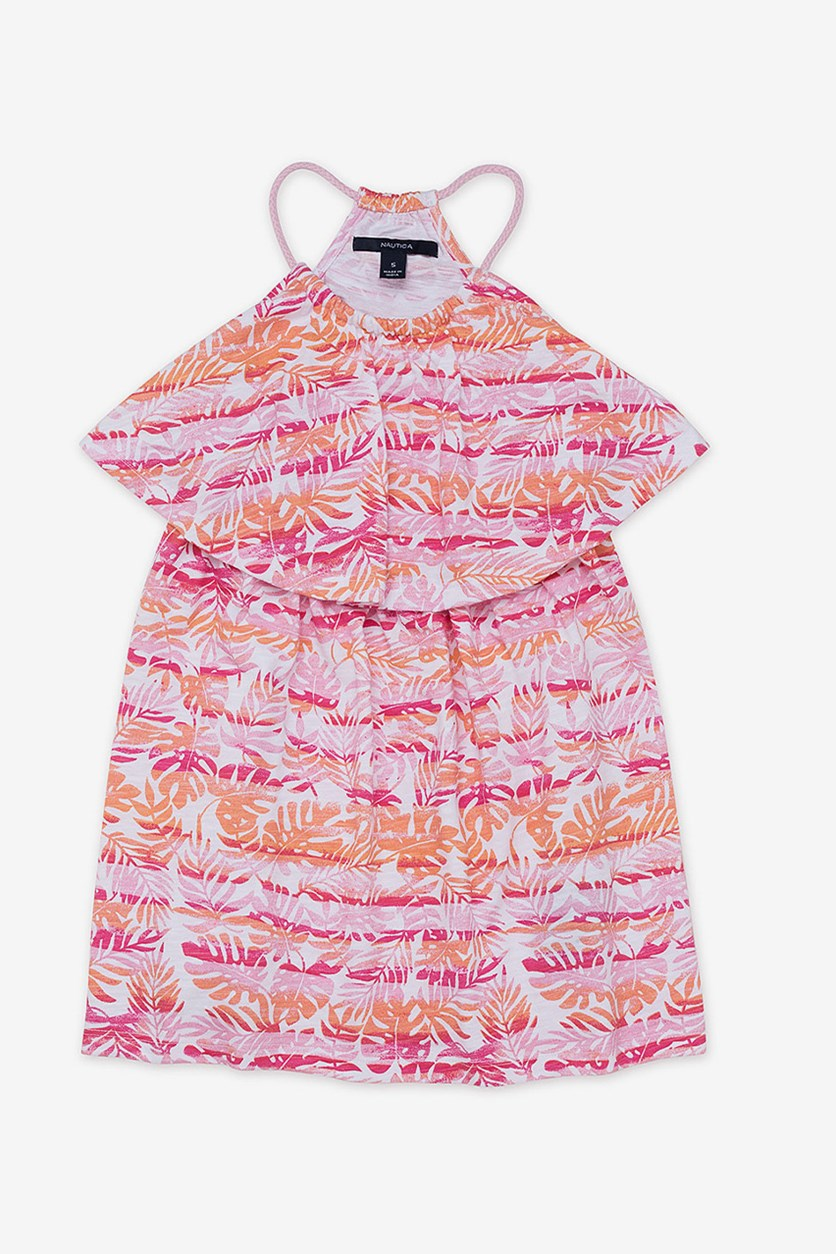 Kids Girls' Foliage Popover Dress, Rose Pink