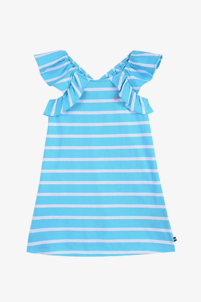 Girl's Stripe Dress With Ruffles, Turquiose