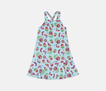 Girls Fruit Yoke Dress, Light Blue