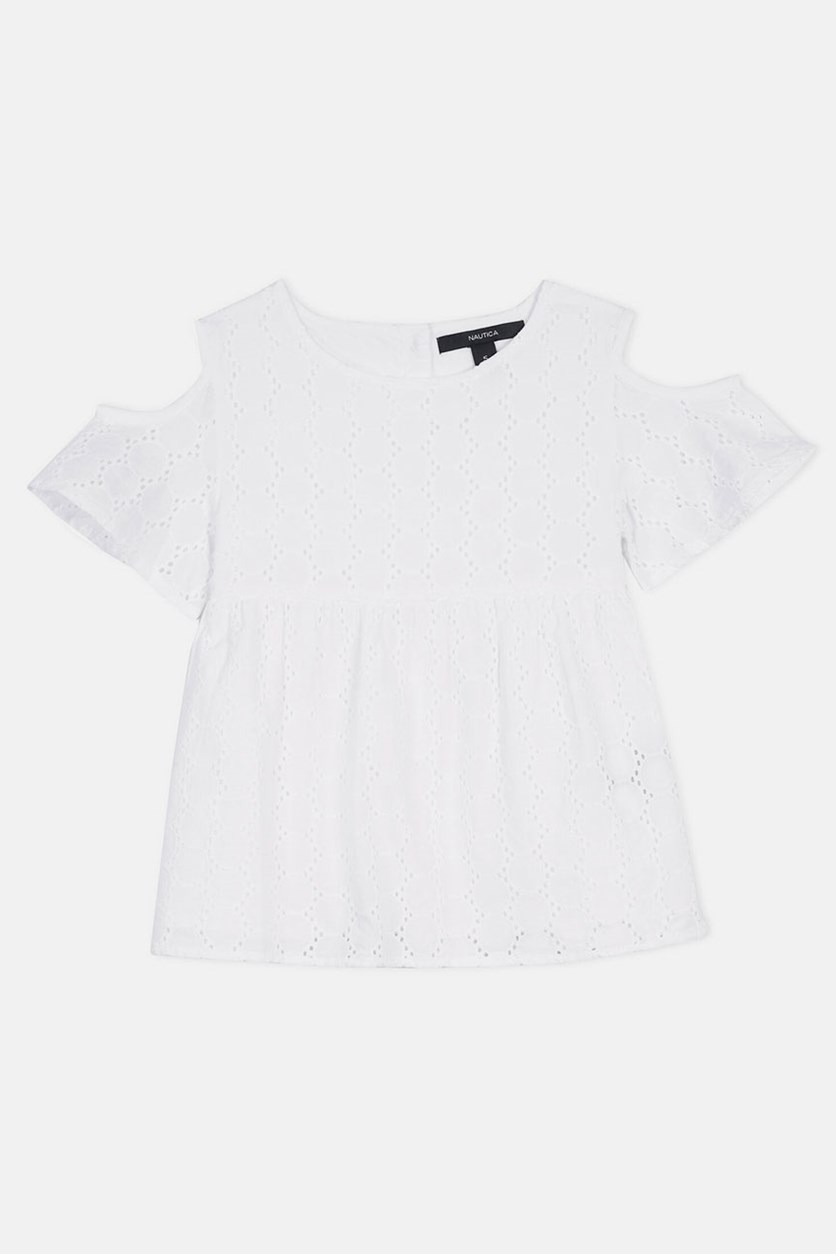 Girls' Eyelet Swing Top, White