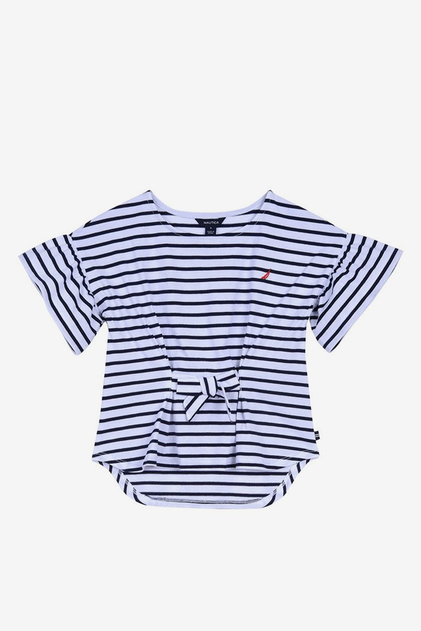 Big Girls' Stripe Bow-Front Hi-Low Top, Navy