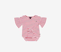 Nautica Big Girls' Stripe Bow-Front Hi-Low Top, Red