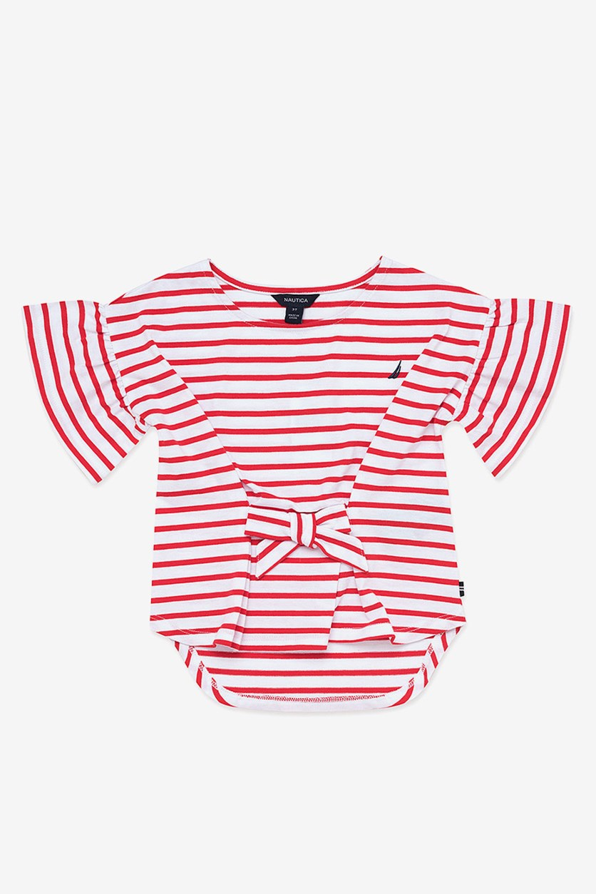Big Girls' Stripe Bow-Front Hi-Low Top, Red