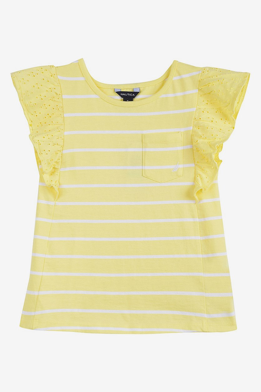 Kids Girl's Angel-Sleeve Pocket Top, Yellow/White