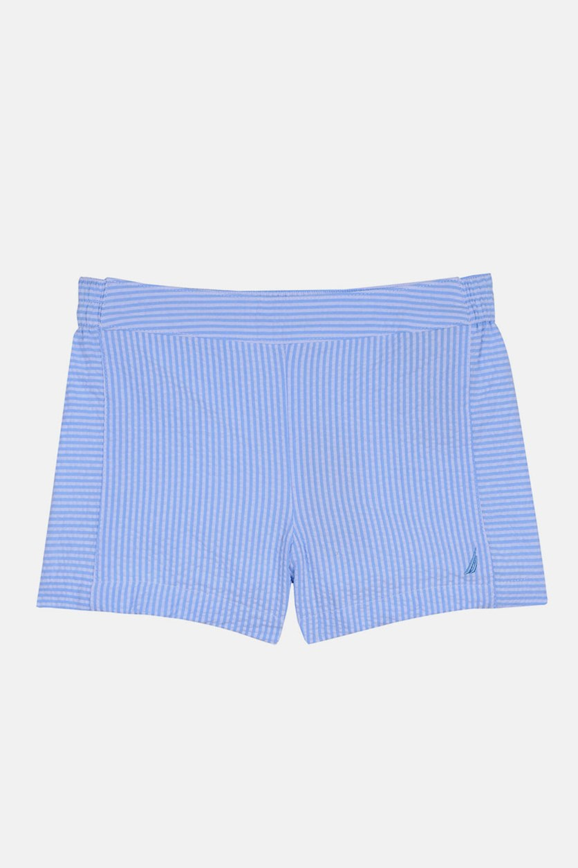 Girls Seersucker Pull on Short, Blue