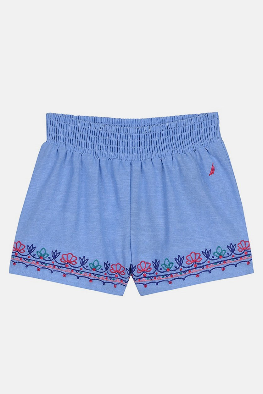 Girls Embroidered Floral Casual Shorts, Light Chambray