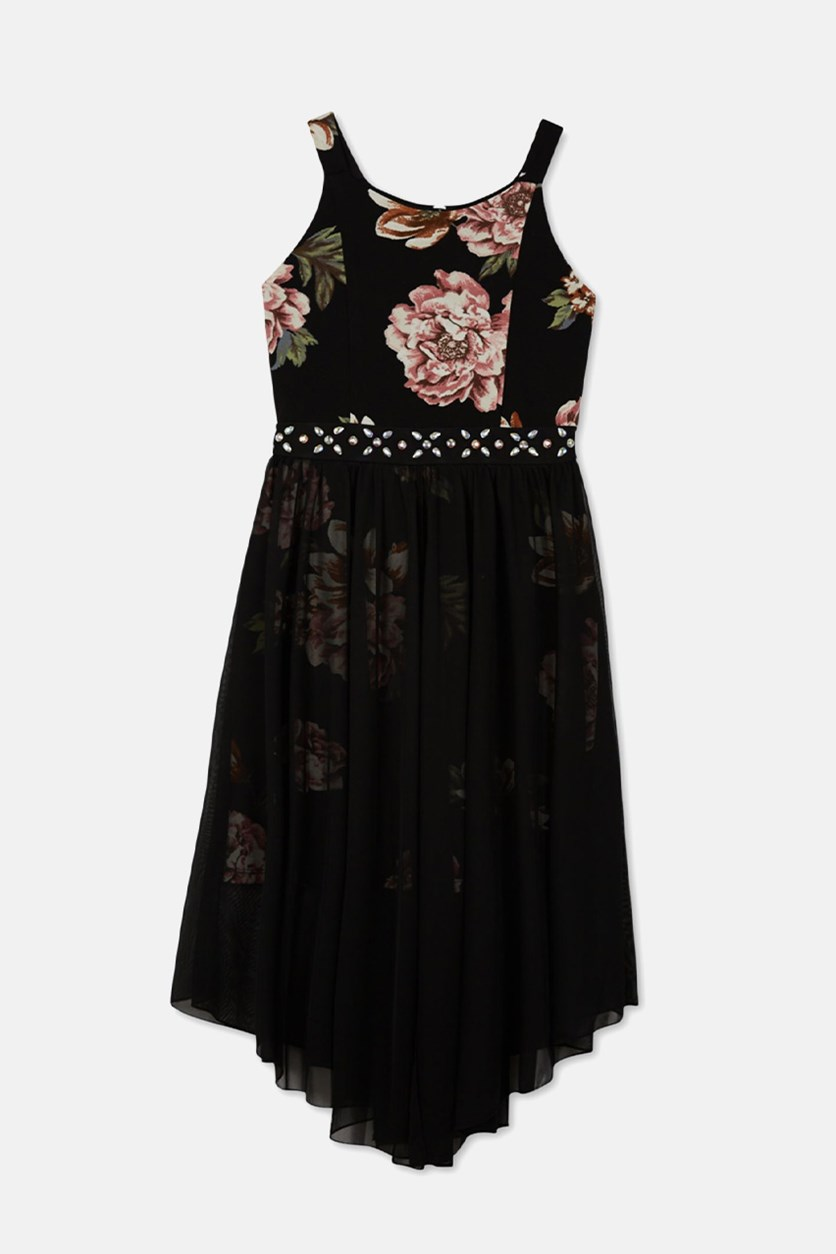 Big Girls Plus Floral Overlay Dress, Black