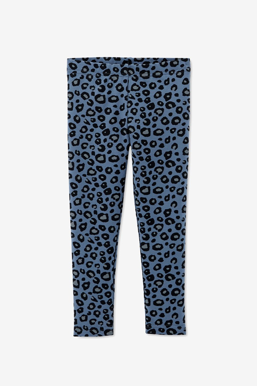 Toddlers Cheetah Print Stretch Knit Leggings, Blue/Black