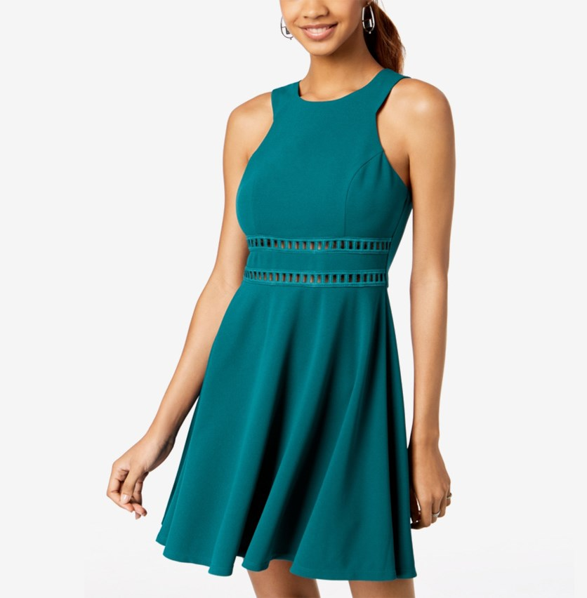 Women's Sleeveless Laddered Inset Scuba Dress,Emerald