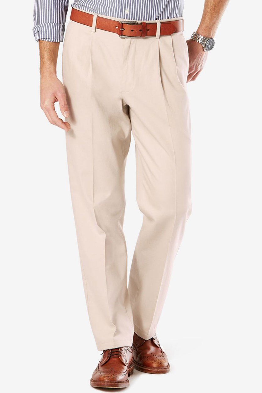 Men's Classic-Fit Pleated Stretch Pants, Beige