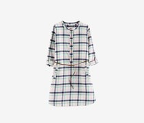 Carter's Girls Belted Cotton Plaid Flannel Shirtdress, Ivory Combo