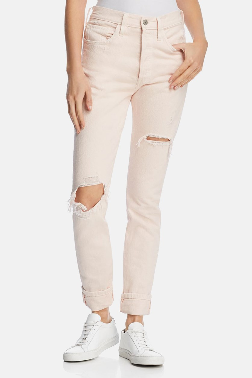 Womens 501 Destroyed Colored Skinny Jeans, Pale Pink