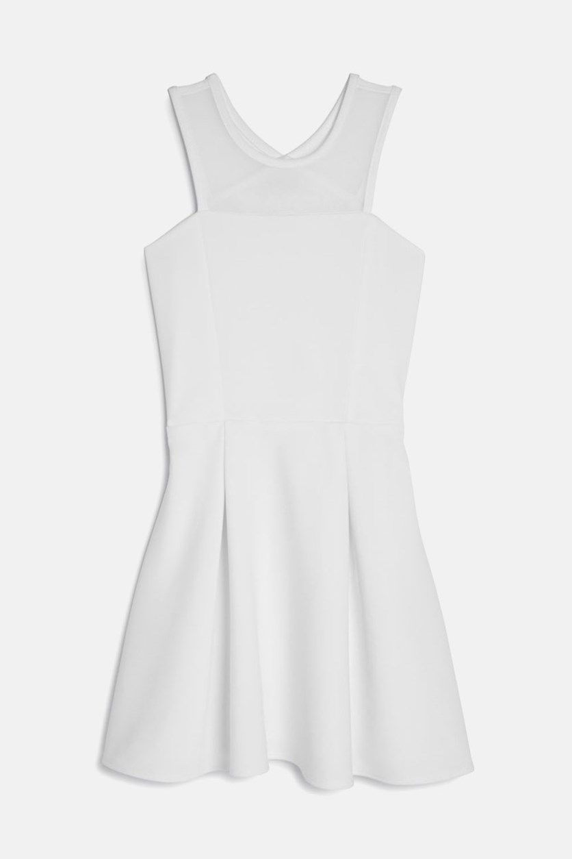 Girls' Carly Pleated Cutout Dress, White
