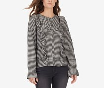 William Rast Women's Plaid Blouse, Black/Grey